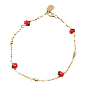 Gold Filled 18kt Classic Adjustable Necklace & Bracelet Set w/Red & Black Seed Beads - Peru Gift Shop