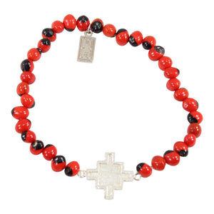 "Sterling Silver Chakana Inka Cross Stretchy Bracelet w/Red & Black Seed Beads 6.5""-7.5"""