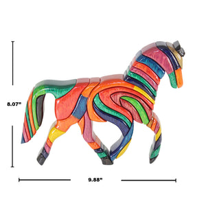 Rainbow Reversible  Horse Handmade Woodwork Puzzle -  Symbol of Freedom - Peru Gift Shop