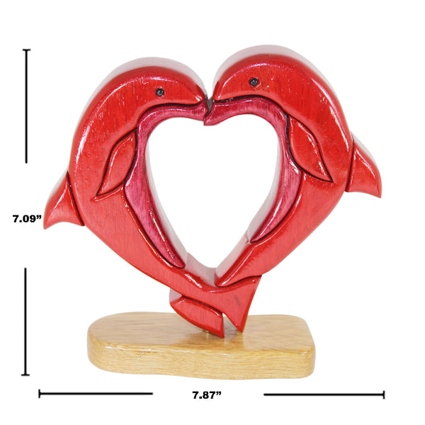Dolphin Lovers Reversible Handmade Woodwork Puzzle -  Symbol of Peace & Love