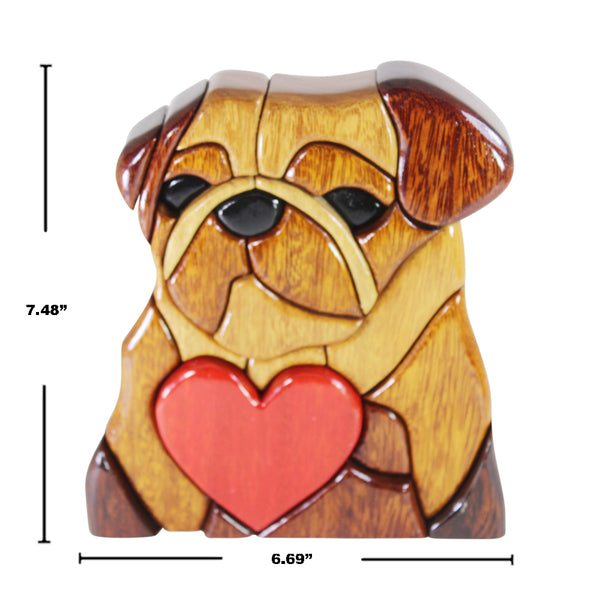 Love Bulldog Reversible Handmade Woodwork Puzzle -  Symbol of Unconditional Love