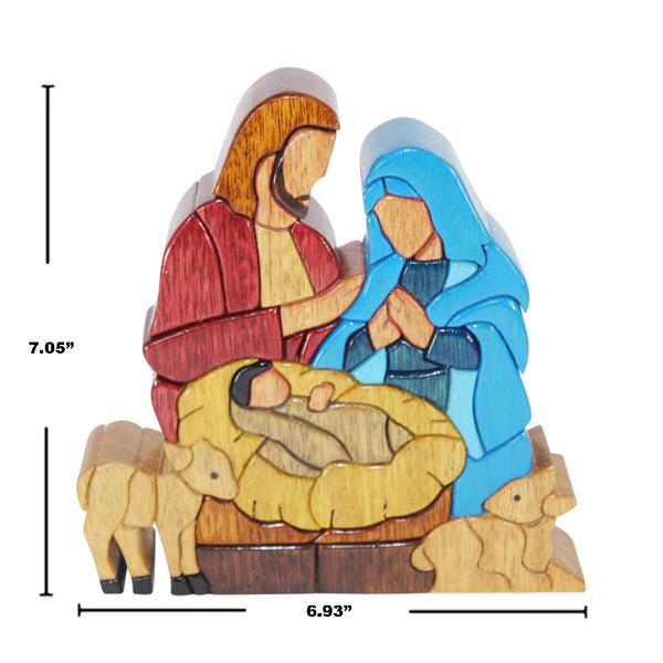 Family Nativity Set  Reversible Handmade WoodWork Puzzle -  Symbol of Unity - Peru Gift Shop