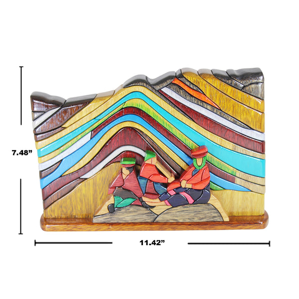 Cusco Rainbow Mountain Reversible Handmade Puzzle Woodwork - Symbol of Nature & Endurance - Peru Gift Shop