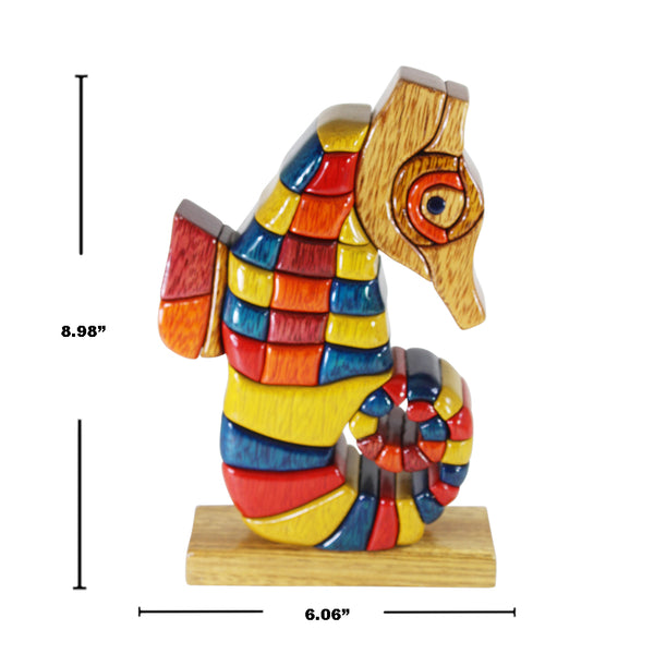 Seahorse Reversible Handmade Woodwork Puzzle - Symbol of Strength & Power Handmade - Peru Gift Shop