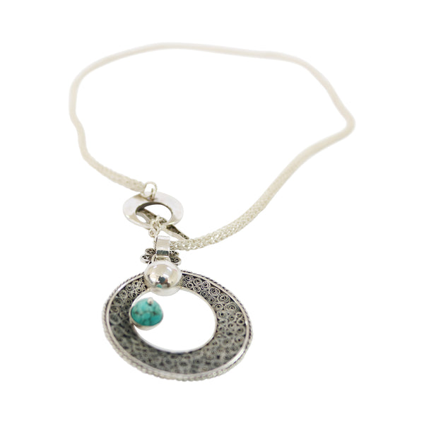 Sterling Silver Filigree Peruvian Turquoise Moon Pendant/Necklace 18""