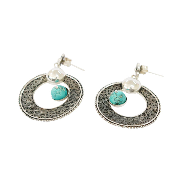 Sterling Silver Filigree Peruvian Turquoise Moon Earrings