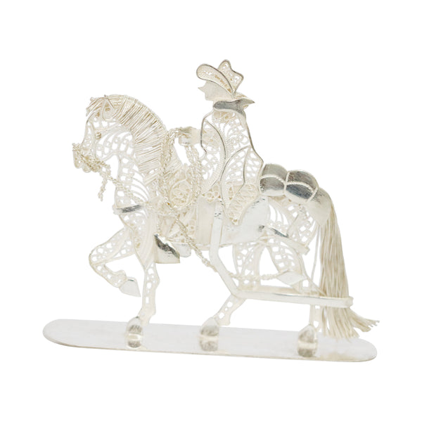Sterling Silver Filigree Traditional Chalan riding a Peruvian Paso Horse