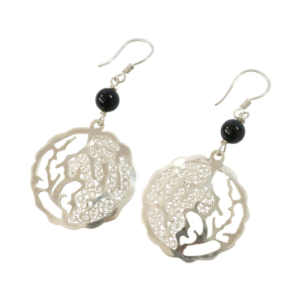 "Sterling Silver Filigree Onyx ""Opposites Attract"" Earrings"