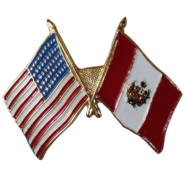 American Stars and Stripes Flag & Peru Souvenir Unisex Gold Plated Lapel Pin