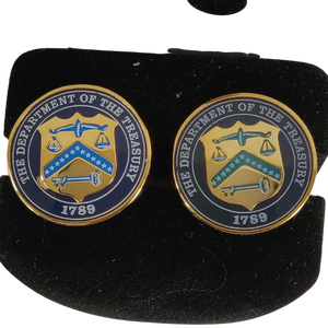 Treasury Department Gold Plated Handpainted Cufflinks