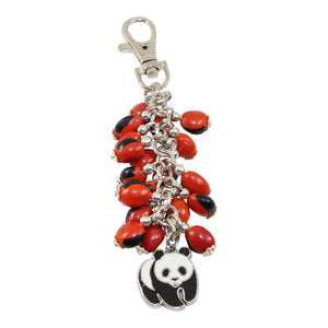 Good Luck Meaningful Keychains Red & Black Seed Beads L:3""