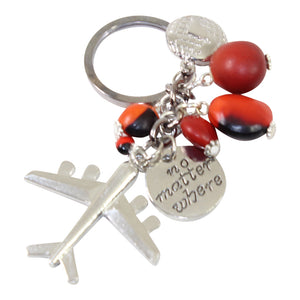 "Good Luck Meaningful Keychains Red & Black Seed Beads L:3"" - Peru Gift Shop"