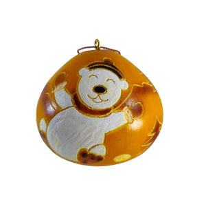 Cute Bear Handmade Christmas Tree Ornament Decoration - Peruvian Traditional Gourds (Set of Two)