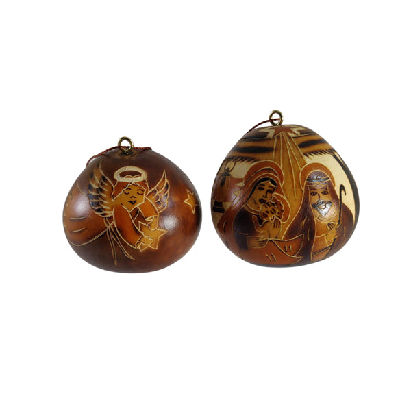 Luxury Christmas Nativity Handmade Christmas Tree Ornament Decoration - Peruvian Traditional Gourds (Set of Two)