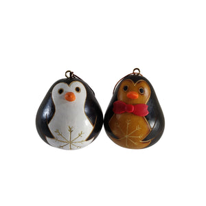 Cute Penguin Handmade Christmas Tree Ornament Decoration - Peruvian Traditional Gourds (Set of Two)