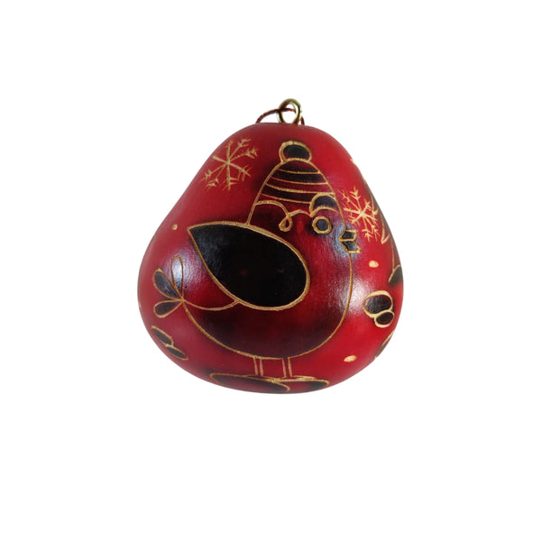 Cute Bird Handmade Christmas Tree Ornament Decoration - Peruvian Traditional Gourds (Set of Two)
