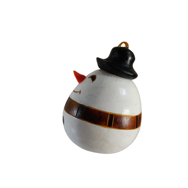Cute Snowman Handmade Christmas Tree Ornament Decoration - Peruvian Traditional Gourds