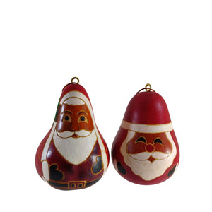 Cute Santa Clause Handmade Christmas Tree Ornament Decoration - Peruvian Traditional Gourds (Set of Two)