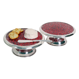 Medium Luxury Cheese  Platter Silver Plated Board w/Peruvian  Huayruro Seed Beads Incl. Spread Knife