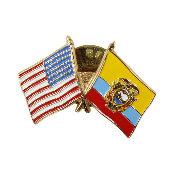 American Stars and Stripes Flag & Ecuador Gold Souvenir Unisex Gold Plated Lapel Pin