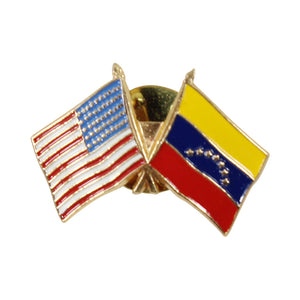 American Stars and Stripes Flag & Venezuela Souvenir Unisex Gold Plated Lapel Pin
