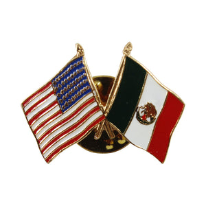 American Stars and Stripes Flag & Mexico Souvenir Unisex Gold Plated Lapel Pin