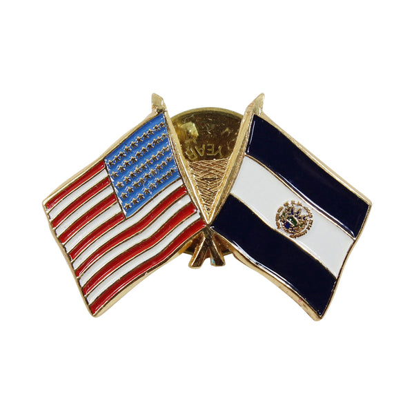 American Stars and Stripes Flag & El Salvador Souvenir Unisex Gold Plated Lapel Pin