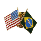American Stars and Stripes Flag & Brazil Souvenir Unisex Gold Plated Lapel Pin