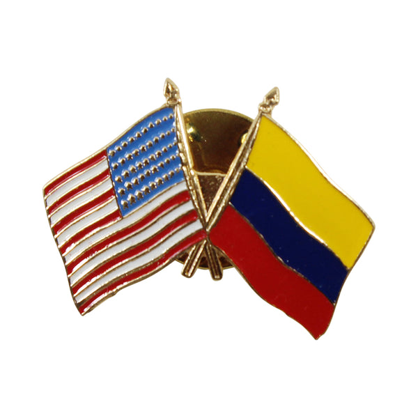 American Stars and Stripes Flag & Colombia Souvenir Unisex Gold Plated Lapel Pin