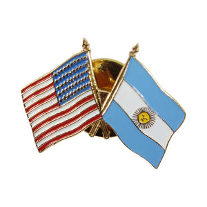 American Stars and Stripes Flag & Argentina Souvenir Unisex Gold Plated Lapel Pin