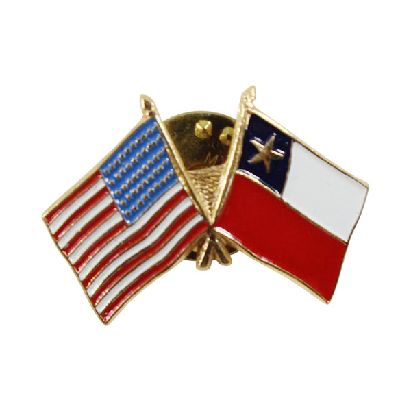 American Stars and Stripes Flag & Chile Souvenir Unisex Gold Plated Lapel Pin