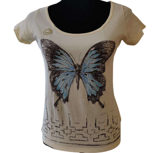 ARA-WAK Butterfly Short Sleeve Women's Deep Crew Neck - 100% Organic Peruvian Pima Cotton