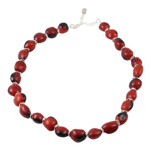"Sterling Silver Classic Red & Black Good Luck Necklace 16""-24"""