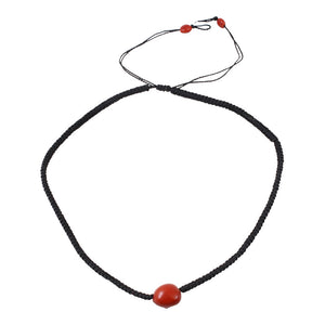 Unisex Macrame Adjustable Single Seed Red & Black Good Luck Necklace