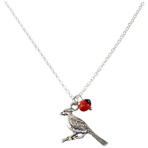 "Adjustable Silver Tone Good Luck Charm Necklace w/ Huayruro Red & Black Seed Beads 16"" - 18"" - Peru Gift Shop"
