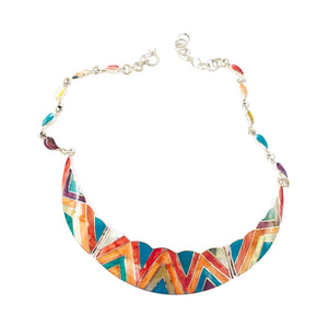 "Multicolored Geometric Natural Stone Adjustable Necklace 16"" - 20"""