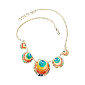 "Sterling Silver ""Moon Eclipse"" Multicolored Natural Stone Necklace 18""-20"" - Earrings 1"""