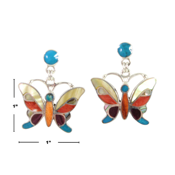 "Sterling Silver ""Lifefulness Butterfly"" Natural Stone Dangle Earrings"