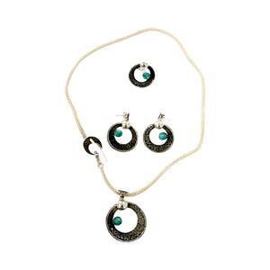 Sterling Silver Filigree Peruvian Turquoise Moon Set