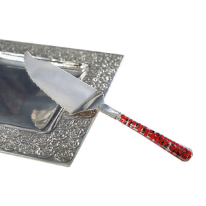 Luxury Silver Plated Cake Cutter Wedding Gift Vitrofusion over Peruvian Huayruro Good Luck Seeds
