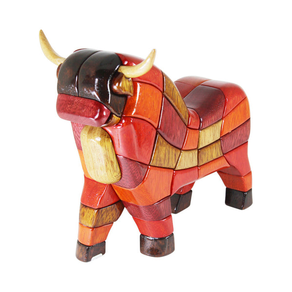 Traditional Bull Reversible Handmade Woodwork Puzzle - Symbol of Strength & Power - Peru Gift Shop