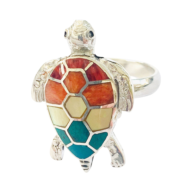 Sterling Silver Adjustable Turtle Ring Symbol of Good Health & Long Life