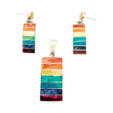 Rainbow Multicolored Stone Earrings & Pendant