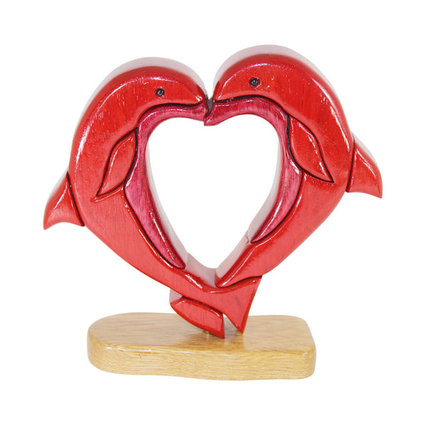Dolphin Lovers Reversible Handmade Woodwork Puzzle -  Symbol of Peace & Love - Peru Gift Shop