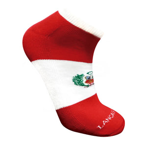 Peru Designed Cotton Socks - Red & White