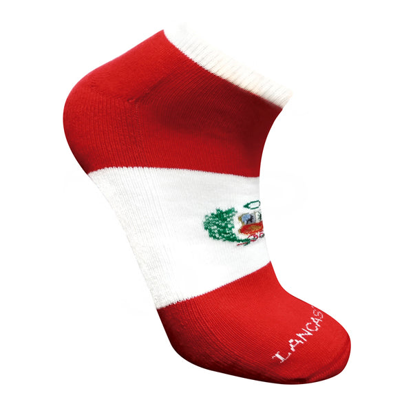 "Perú Shield Designed ""Unisex"" Cotton Socks - Red & White"