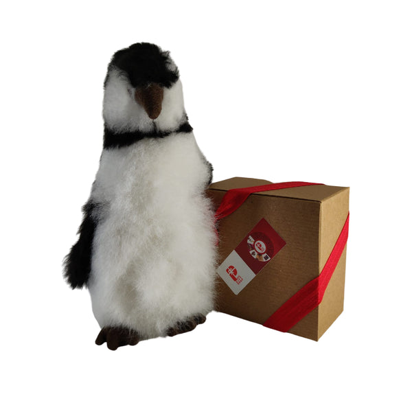 100% Baby Alpaca Fur Friendly Penguin • Handmade • Hypoallergenic & Pillow Soft • (10 INCH)