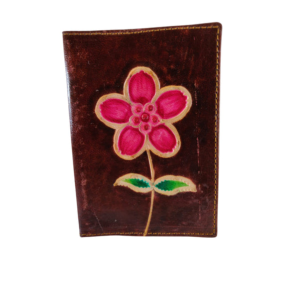 100% Genuine Leather Blossom Design Passport Wallet