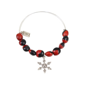 Snowflake Christmas Charm Adjustable Bangle Bracelet