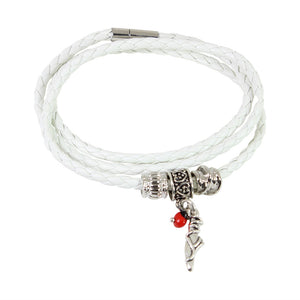 White Leather Adjustable Meaningful Good Luck Charm Bracelet